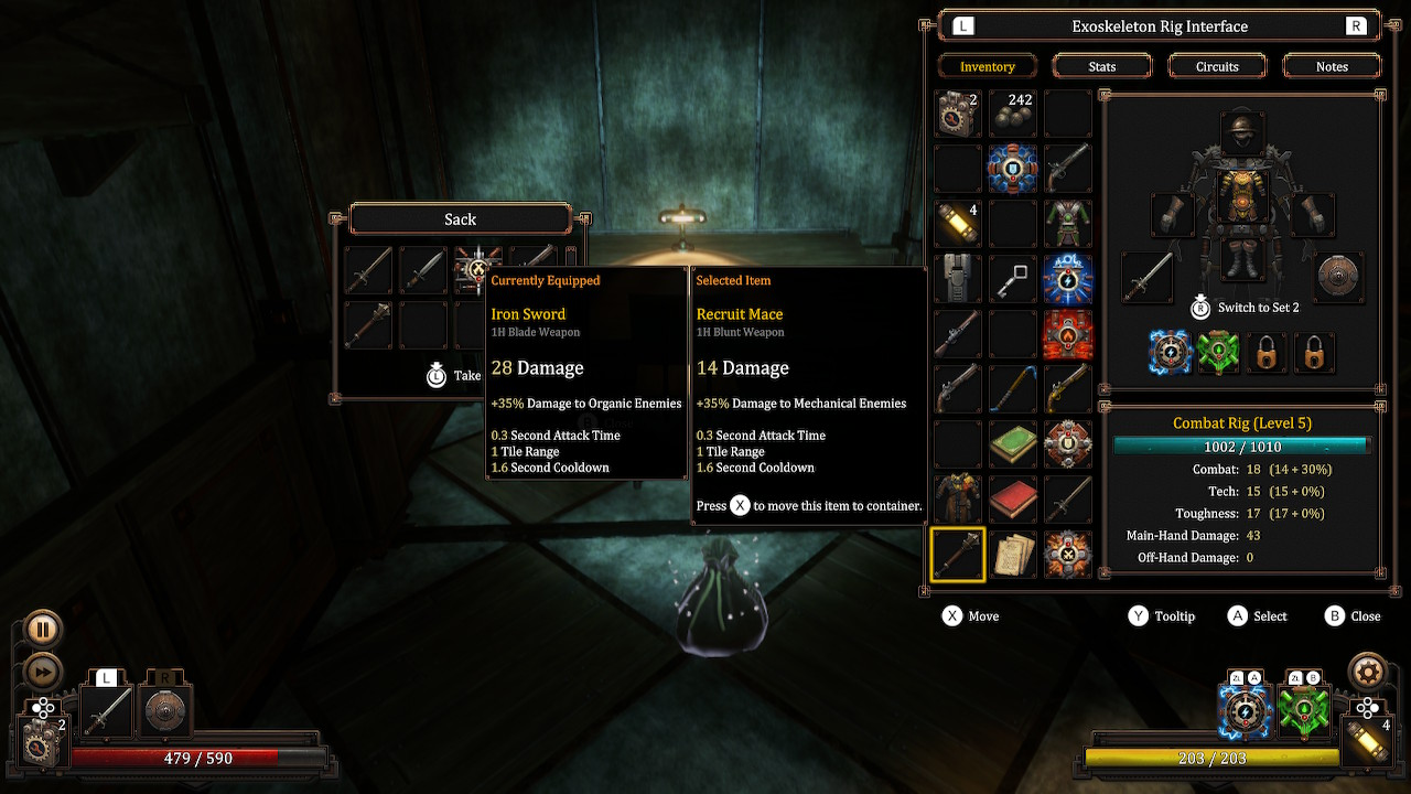 Inventory and item tooltip Vaporum